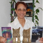 Linda Addison with her two Bram Stoker Awards
