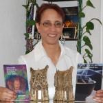 Linda Addison with her two Bram Stoker Awards